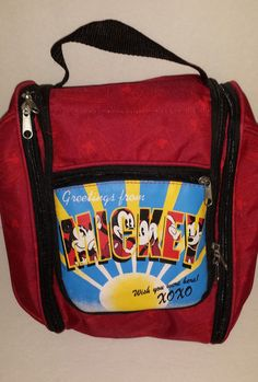 Disney Toiletry Travel Bag Hook Inside Greetings From Mickey Red Nylon Canvas http://stores.ebay.com/Lost-Loves-Toy-Chest?_dmd=2&_nkw=toiletry+bag