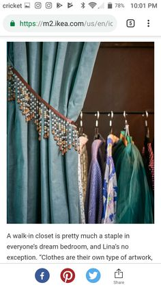 A curtain hangs in front of a closet with clothes hanging inside. Closet Curtains, Hanging Curtains, Dream Bedroom, Home Bedroom, Best Home Interior Design, Art Deco Movement, Ikea Home, Glass Cabinet Doors, Velvet Curtains