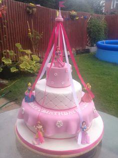 3 Tier Disney Princess Maypole Cake. Very Girly :D