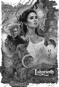 Labyrinth Artwork by Hollie Matney David Bowie Labyrinth, Labyrinth 1986, Labyrinth Movie, Sarah Labyrinth, Jim Henson Labyrinth, Jennifer Connelly, Fantasy Movies, Fantasy Art, Train To Busan