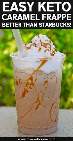 Sugar-Free Keto Caramel Frappuccino Recipe. This homemade low carb frappe tastes just like the Starbucks version. A delicious healthy iced coffee to fuel your body on a hot summer day. #ketorecipes #lowcarbrecipes #healthydrinks