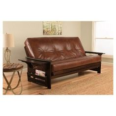 Huntington Espresso Finish Futon - Oregon Trail Saddle - Christopher Knight Home, Saddle Brown, Durable