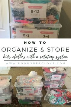 to Organize & Store Kids Clothes How to organize and store kids clothes with a rotating system. Declutter kids clothes and baby clothesHow to organize and store kids clothes with a rotating system. Declutter kids clothes and baby clothes Kids Clothes Storage, Kids Clothes Organization, Baby Storage, Playroom Organization, Clothing Storage, Storage Ideas, Storage Hacks, Food Storage, Kids Storage