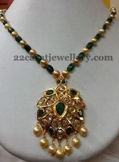 Emerald Beads Set with Pachhi Locket | Jewellery Designs
