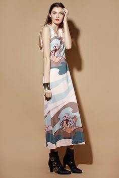 Vintage 70 s does Art Nouveau Print Maxi Dress http   thriftedandmodern.com  5bc8c945f