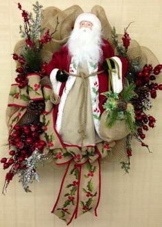 Santa Claus Burlap Mesh Wreath