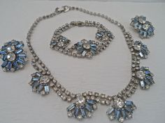 Vintage Baby Blue and Clear Rhinestone Parure Necklace Bracelet and Clip earrings 3Pc Set Vintage Art Deco Style Rhinestone Jewelry