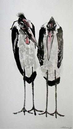 Kalpa Maclachlan - Sumi-e Atelier Sumi E Painting, Chinese Painting, Watercolor Paintings, Japanese Bird, Tinta China, China Art, Expo, Watercolor And Ink, Beautiful Artwork