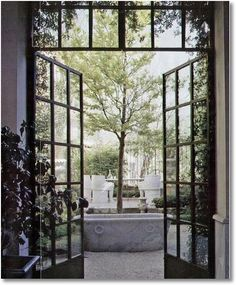 Doors don't get much cooler than this. Check out this awesome set of doors: Pin It Steel windows and doors offer greater strength and design flexibility. Patio Interior, Interior And Exterior, Interior Design, Exterior Doors, Interior Decorating, Orangerie Extension, Black French Doors, French Windows, Door Design
