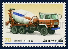 POSTAGE STAMPS FOR KOREAN-MADE CARS SERIES(ⅴ), Car, Car, Ivory, Brown, Dark blue, 1983 08 25, 국산자동차 시리즈(제5집), 1983년08월25일, 1310, 믹서트럭, postage 우표