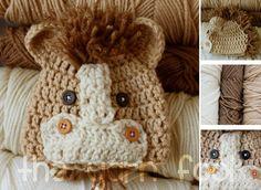 Newborn, Infant, Child Size Crochet Horse Hat
