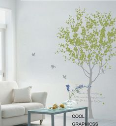 Love Tree  - wall decal branch trees wall decals birds birdcage  wall decals child nursery  wall sticker wall decor home decor. $67.00, via Etsy.