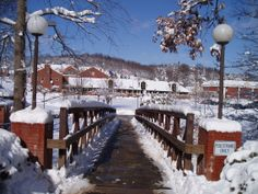 Snowy view over the foot bridge to Chambers Hall at the University of Pittsburgh at Greensburg. #pittgreensburg www.greensburg.pitt.edu