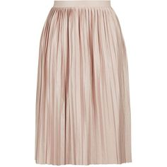 TopShop Petite Jersey Pleat Midi Skirt ($47) ❤ liked on Polyvore featuring skirts, pink skirt, calf length skirts, full midi skirt, midi skirt and pink pleated skirt
