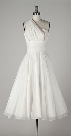 vintage 1950s dress . white chiffon by millstreetvintage