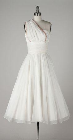 vintage 1950s dress . white chiffon by millstreetvintage