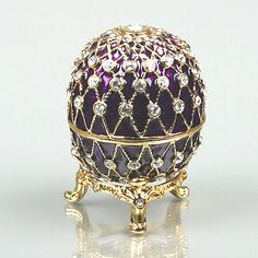 Russian Faberge Enamel Egg-Box by The Russian Store - Purple & Gold Fabrege Eggs, Faberge Jewelry, Imperial Russia, Egg Art, Russian Art, Egg Decorating, Oeuvre D'art, Easter Eggs, Saint Petersburg