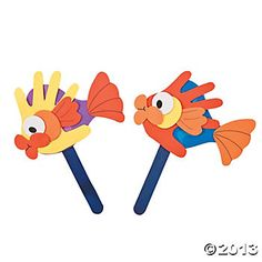 Handprint Fish Puppet Craft Kit,  Use foam/paper to trace handprints to make fish. Hands can tie-in to many other ideas...