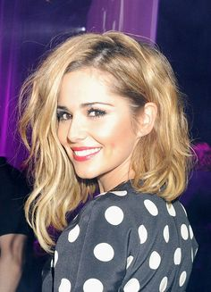 Cheryl Cole's voluminous asymmetric hair color