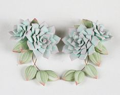 Mint Succulent Earrings. Polymer clay by JewelleryForWorld on Etsy