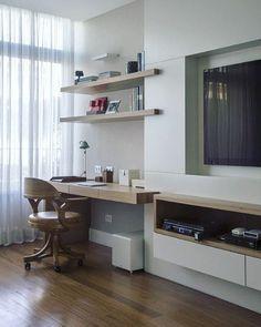 Home Office para inspirar ✨ Ambientes integrados onde os materiais acabam seguindo o mesmo padrão ✨