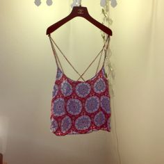 Motel Rocks Top! Super cute red and blue patterned top from motel rocks. Size medium. 100% Viscose material. Could be ironed flat or worn with the wrinkled look. Motel Rocks Tops Crop Tops