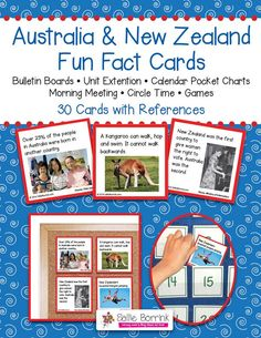"""Australia and New Zealand Fun Fact Cards - Great for Unit Extension Activity, Bulletin Boards and Games - One teacher said: """"My kids are addicted to reading these facts cards every morning. If I forget to read one, they are sooo quick to remind me. And the parents are learning too! During conferences, I had many parents tell me how much they had learned from their children when we read the apple and pumpkin cards. Thanks!"""""""