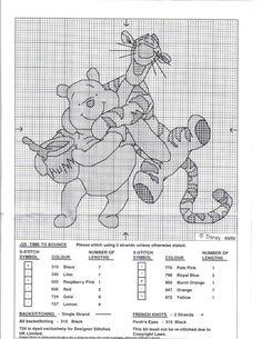 Pooh Bear & Tigger - time to bounce Disney Cross Stitch Patterns, Cross Stitch For Kids, Cross Stitch Designs, Winne The Pooh, Winnie The Pooh Friends, Butterfly Cross Stitch, Cross Stitch Heart, Blackwork Embroidery, Cross Stitch Embroidery