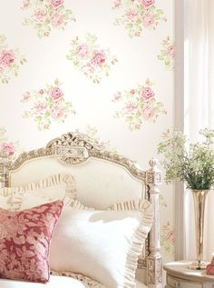 "Tonight and Tuesday, let's do a ROSE COTTAGE in light pink and white. Every pin must have roses in it. Let's try to keep it from looking too ""shabby"" . we may do a shabby cottage on another day. Decor, Wallpaper Bedroom, Romantic Cottage, Shabby, Cottage Decor, Chic Decor, Dreamy Bedrooms, Chic Bedroom, Shabby Chic Bedrooms"