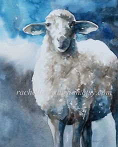 animal print watercolor painting / sheep by rachellelevingston, $25.00