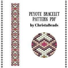 Peyote bracelet pattern PDF #2 Bead peyote pattern Beading tutorial Peyote stitch Beadwork pattern Seed bead bracelet pattern ChristaBeads