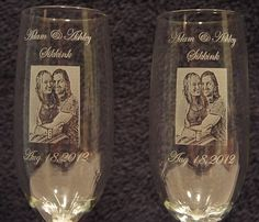 Laser etched, personalized wine glasses for wedding or anniversary $45.00