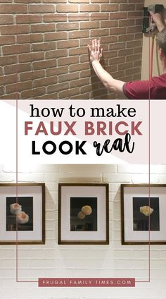 A brick accent wall adds so much character and texture to a boring room. We made a DIY faux brick wall and with our tips you can make it look more real! This post covers how to install brick veneer panels to make a fake brick wall. #howto #diy #brick #accentwall #budgetdecor #farmhouse #basement #guestroom