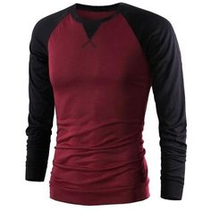Color Splicing Round Collar Raglan Sleeve T Shirt ($8.24) ❤ liked on Polyvore featuring men's fashion, men's clothing, men's shirts, men's t-shirts, mens raglan t shirt and mens raglan shirts