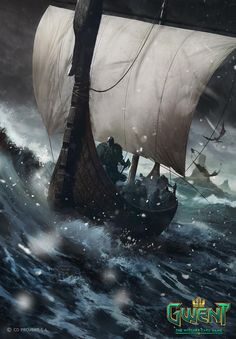 The Witcher/ Dimun Light Longship/ Gwent Card/ Skellige Viking Ship, Viking Art, Viking Warrior, Witcher Art, The Witcher, Dark Souls, Viking Longboat, Norse Vikings, Viking Tattoos
