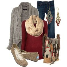 Fall / Winter Outfit, Gray- Love The Outfit, But Minus The Earings
