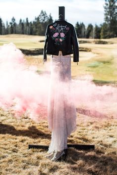 alternative rock bride! custom leather jacket with smoke bomb