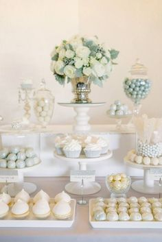 all white wedding dessert table decor / http://www.himisspuff.com/wedding-dessert-tables-displays/2/