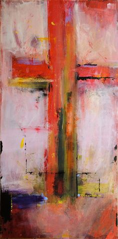 CROSS On Pink - Original Abstract Acryllic painting on canvas