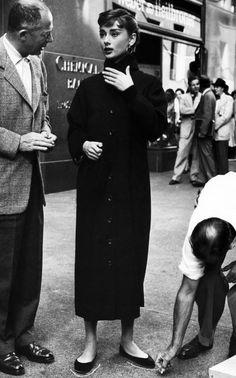 Audrey Hepburn with director Billy Wilder on the set of Sabrina, 1954