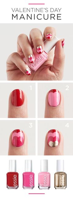 We've got your gorgeous Valentine's Day DIY manicure right here. Start with two coats of forever yummy. Then add a heart-shaped layer of Delhi dance and consecutively smaller heart-shaped layers of secret story and good as gold. Featured product includes: essie mirror metallics nail polish in as good as gold, resort collection nail polish in Delhi dance, pinks & roses nail polish in secret story and reds nail polish in forever yummy. Get gorgeous with Kohl's.