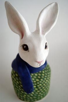 hand-sculpted porcelain rabbit bust by terehurst on Etsy