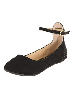 Look what I found on #zulily! Black Ankle Strap Flat by Anna Shoes #zulilyfinds