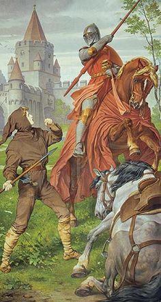 """Picture: Mural """"Parzival fighting the red knight"""" Mural in the Singers' Hall, August Spiess, 1883/84"""