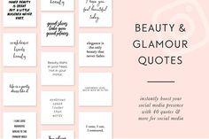 Beauty & Glamour Instagram Quotes by Bold Leap Creative on @creativemarket