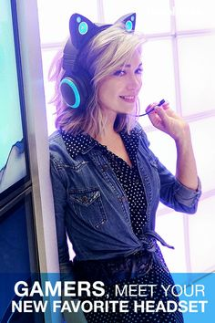 A gamer gift that's the cat's meow. The headphones you wear make a fashion statement, & these Cat Ear Headphones from Brookstone make one of the coolest there is. Their distinct shape and prominent cat ears are accented by bright LED lights th