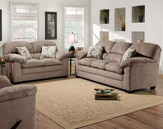 Tan Couch Set, Simmons Microfiber Fabric   Puff Musk Sofa and Loveseat