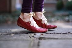 Upturned Toe Burgundy and Gold Gillies with Suede Soles by uku2, $100.00