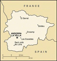 This is another map of Andorra, it shows some of the major cities and the capitol.