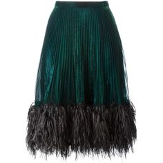 Marco De Vincenzo feather trim pleated skirt (4.170 RON) ❤ liked on Polyvore featuring skirts, bottoms, marco de vincenzo, green, knee length pleated skirt, pleated skirt, green skirt and green pleated skirt